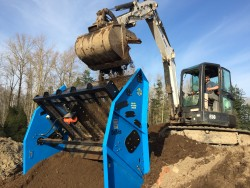 Load the SLG 78VF-II Soil Screener with an excavator, skidsteer, or small loader