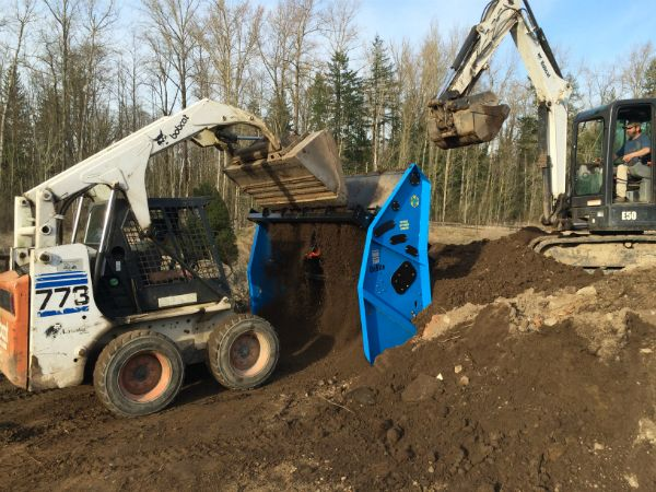 Feed our screener with a skidsteer and/or an excavator or both!
